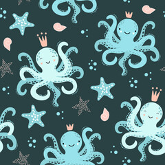 Cute seamless pattern with octopus, starfish.