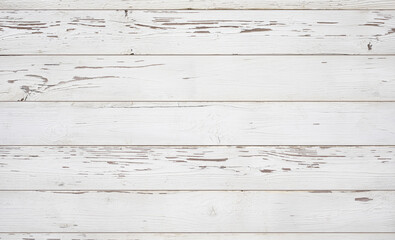 Weathered white wooden background texture. Top view surface of the table.