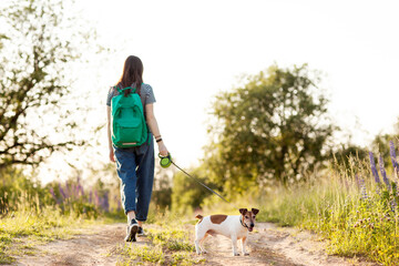 A girl walks with her dog on a country road. Dog walking, pet care. Friendship, caring, a way of life. Back view, space for text