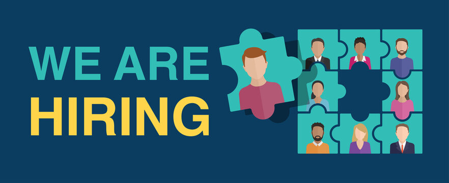Wea are hiring (Join our team) concept. People avatars (profile image) - in puzzle form with empty puzzle element inside - motivation of formation of a working team - recruitment hiring banner