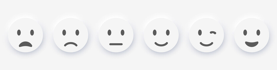Emotions set icons / buttons. Emojis Neumorphism style. Stock vector illustration