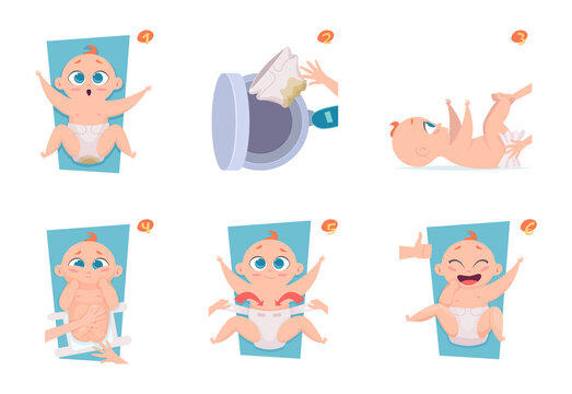 Changing diapers steps. Healthcare medical announce pictures to parents baby care vector illustration. Change process diaper, small and young baby