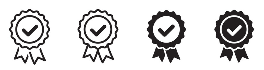 Fototapeta Approved or certified medal icon. Certified badge. Approval check symbol collection - stock vector.