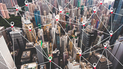 Fotomurales - Aerial photo of a business district in China with many tall skyscrapers. Hong Kong office buildings with infographics design. Wireless cityscape map, internet and networking connection concept