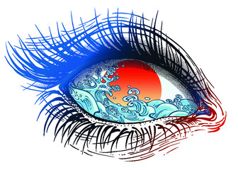 Isolated vector illustration of realistic human eye of a girl with stormy waves inside and sun iris in the style of modern tattoo design.