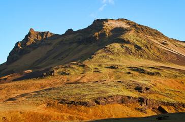 Iceland volcanic hills landscape mountain panorama summer scenic beautiful islandic nature outdoor