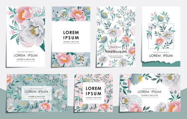 Wall Mural - Vector illustration set of floral card set for wedding, anniversary, birthday parties. Design for icons, web design, print project for banner, poster, invitation, brochure and scrapbook.