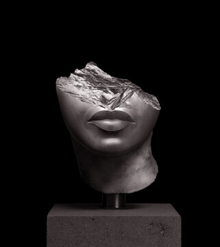 3D rendering illustration of a broken fragment of a antique head sculpture with pedestal isolated on black background.