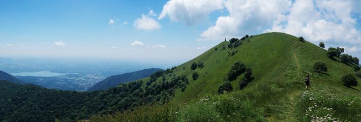 alpine trail in the palanzone peak - Como Lombardy.