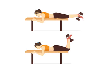 Sport women doing exercise with Dumbbell Hamstring Curl on Bench. Workout at the gym with equipment target on legs muscles.