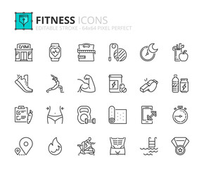 Simple set of outline icons about fitness