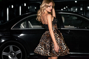 Sexy blonde woman near the car. Hollywood star.