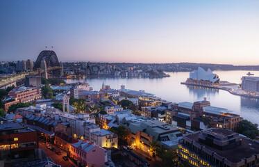 Fototapete - sunrise, Aerial view of Sydney with Harbour Bridge, Australia