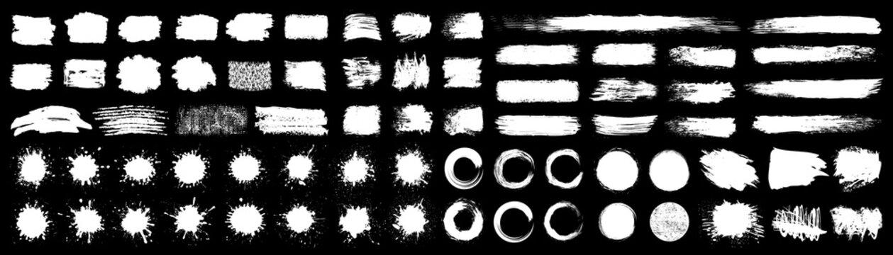 Set different white splash, collection brush strokes – stock vector