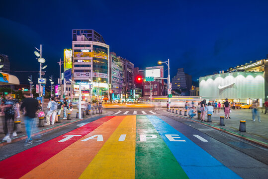 Taipei, Taiwan - June 29, 2020: rainbow crosswalk in ximending, taipei. Same-sex marriage became legal on 24 May 2019 made Taiwan the first nation in Asia to perform same-sex marriages.