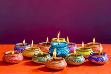 Beautifully Lit Lamps for the Hindu Diwali Festival