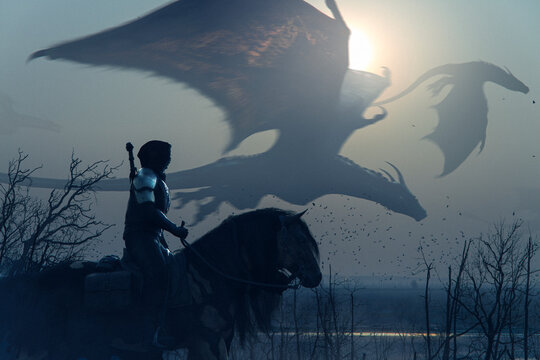 Brave epic knight riding horse on a sunset landscape with flying big dragons - concept art - 3D rendering