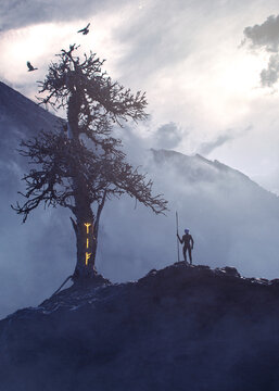 Mysterious figure near Yggdrasil with glowing rune on the trunk and crow flying on misty mountains - concept art - 3D rendering