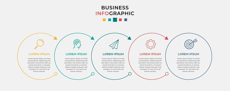 Business Infographic design template Vector with icons and 5 five options or steps. Can be used for process diagram, presentations, workflow layout, banner, flow chart, info graph