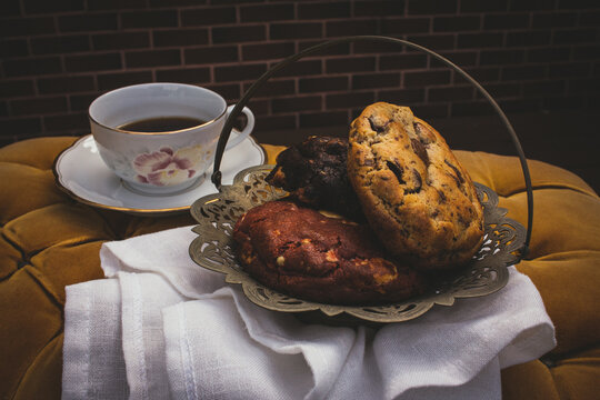 large cookies with cup of coffee