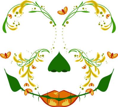 Vector Illustration Butterfly Floral Face Mask Design