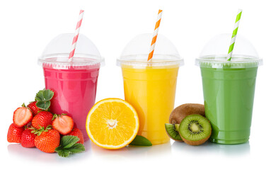 Fresh fruit juice smoothies drink drinks cups healthy eating isolated on white