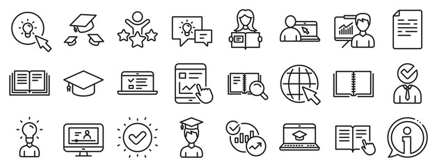 Fototapeta Laptop, Book and Video Tutorial icons. Education line icons. Graduation cap, Instructions and Presentation. College education or Lectures book, Charts and Idea. Laptop, video tutorial. Vector obraz