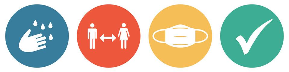 Bunter Coronavirus Banner mit 4 Buttons: Hände waschen, Abstand halten, Maske tragen und Häkchen