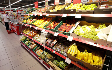 Fruits are displayed at a supermarket of Swiss retailer Denner in Glattbrugg