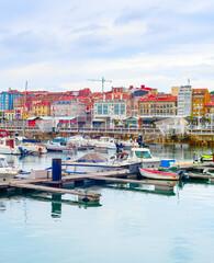 Gijon citycsape, boats, marina, Spain
