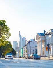 Cityscape, car traffic, street, Frankfurt