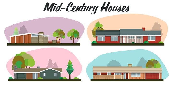 Mid Century Modern Homes, Populuxe Style, 1950s Architecture, Building Set