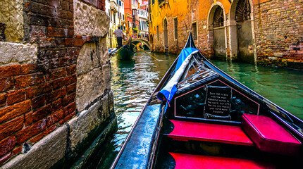 Colorful Gondola floating along the Venice canals, Italy, Travel Photography