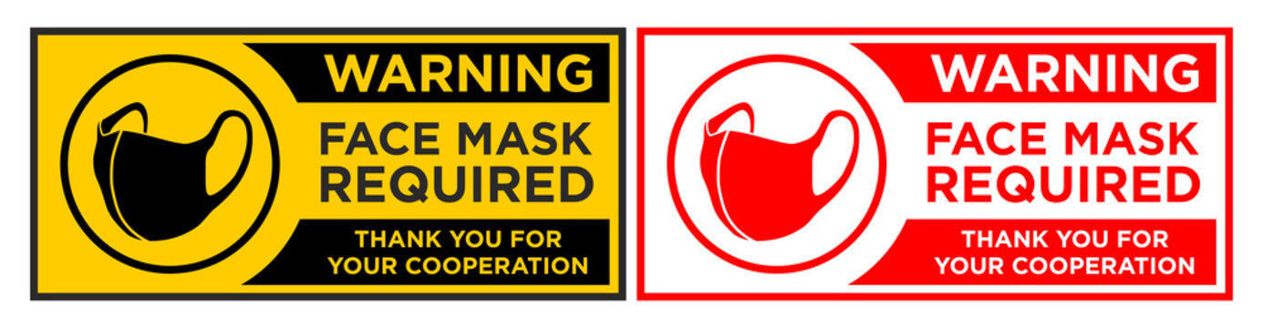 Face mask required sign. Horizontal warning signage for restaurant, cafe and retail business. Illustration, vector