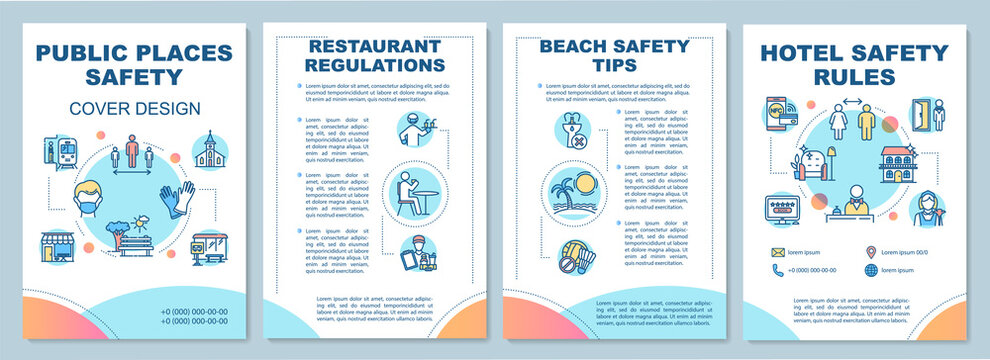 Public places safety rules brochure template. Hotel, beach safety tips. Flyer, booklet, leaflet print, cover design with linear icons. Vector layouts for magazines, annual reports, advertising posters