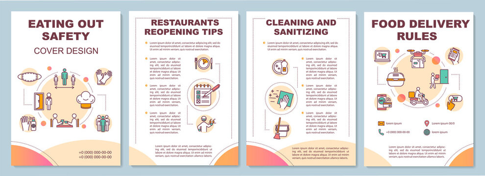 Eating out safety brochure template. Contactless food delivery. Flyer, booklet, leaflet print, cover design with linear icons. Vector layouts for magazines, annual reports, advertising posters