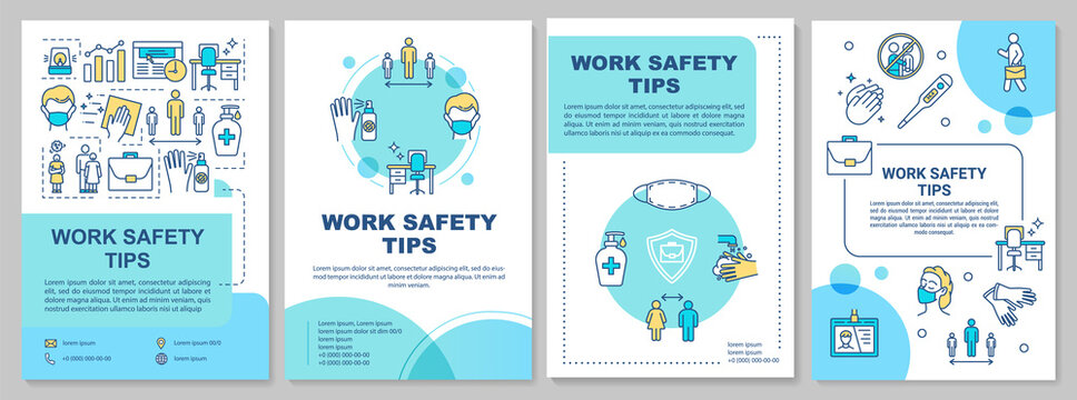 Work safety tips brochure template. Covid protection in workplace. Flyer, booklet, leaflet print, cover design with linear icons. Vector layouts for magazines, annual reports, advertising posters