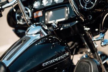 Shchomyslitsa, Belasus - April 13, 2019 . Emblem and engine of Harley Davidson. Motorcycle Harley Davidson