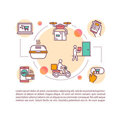 Food delivery concept icon with text. PPT page vector template. Order food online from restaurants. Contactless delivery. Brochure, magazine, booklet design element with linear illustrations