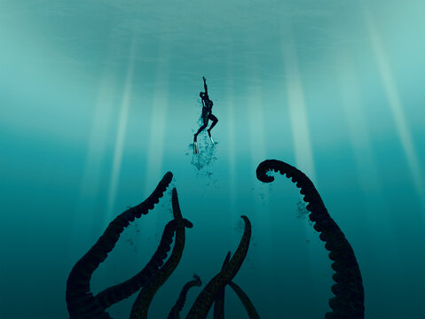 Deep Sea Diver swimming upward from pursuing Giant Squid/Octopus/horrible tentacled monster