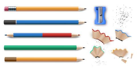 Sharpened colorful pencils stationery set and sharpener