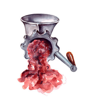 watercolor illustration of kitchen accessories.minced meat in a meat grinder. Antique kitchen equipment. isolated on a white background.