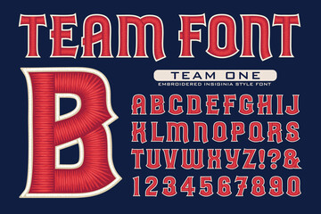 An Alphabet in the Style of Embroidered Insignias for Sports Teams; This Vector Lettering is Highlighted with Satiny 3d Thread Effects