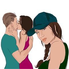 sad upset girl on the background of kissing lovers illustration