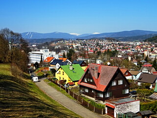 Czech Republic-view of the city Trutnov and Giant Mountains
