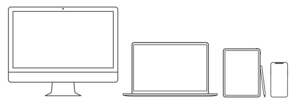 Thin line set of 2020 new design thin frame Computer monitor, laptop, tablet, smart phone - Eps 10 Vector template mock up.