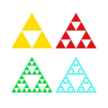 Golden triforce geometric triangle power symbol in four colors. Sierpinski triangle. Infinite fractal shap