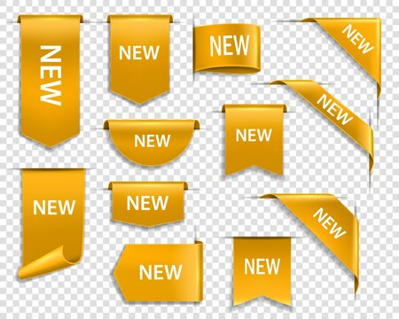 Golden ribbons, banners and labels. Web new goods golden vector banners, realistic glossy gold label in arrow, round shape and ribbon or page corner. Web design element, sale promotion, price tags