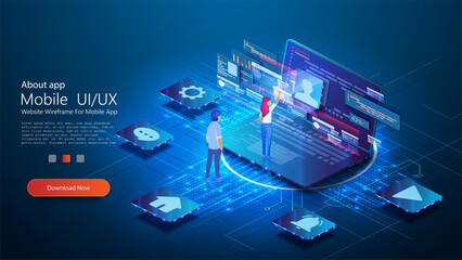 UX / UI design concept  conceptual laptop with a disassembled interface. People interact with parts of the interface. User experience. Flat isometric vector illustration isolated on blue background.