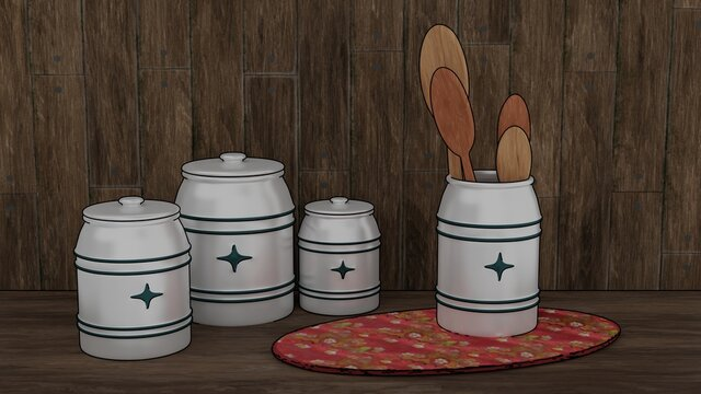 Pottery set with wooden spoons